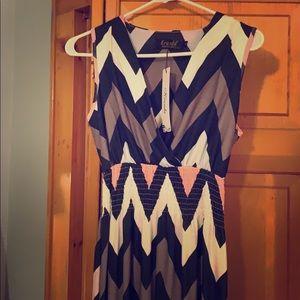 Chevron sleeveless MAXI dress NWT